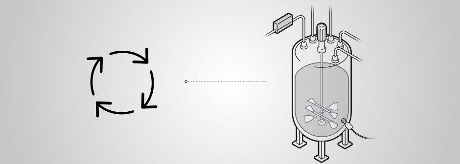 Symbol Kreislauft kombiniert mit der grafischen Darstellung eines Fermenters